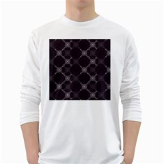 Abstract Seamless Pattern White Long Sleeve T Shirts