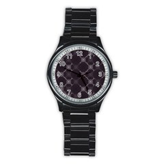 Abstract Seamless Pattern Stainless Steel Round Watch