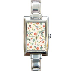 Abstract Vintage Flower Floral Pattern Rectangle Italian Charm Watch