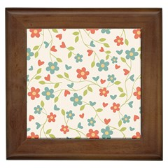 Abstract Vintage Flower Floral Pattern Framed Tiles