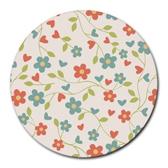 Abstract Vintage Flower Floral Pattern Round Mousepads