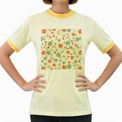 Abstract Vintage Flower Floral Pattern Women s Fitted Ringer T Shirts