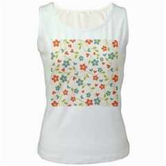Abstract Vintage Flower Floral Pattern Women s White Tank Top