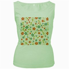 Abstract Vintage Flower Floral Pattern Women s Green Tank Top