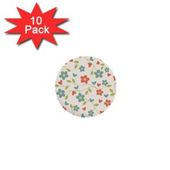 Abstract Vintage Flower Floral Pattern 1  Mini Buttons (10 Pack)