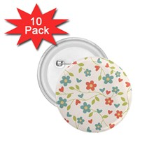 Abstract Vintage Flower Floral Pattern 1 75  Buttons (10 Pack)