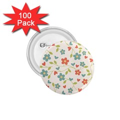 Abstract Vintage Flower Floral Pattern 1 75  Buttons (100 Pack)