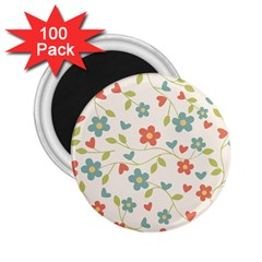 Abstract Vintage Flower Floral Pattern 2 25  Magnets (100 Pack)