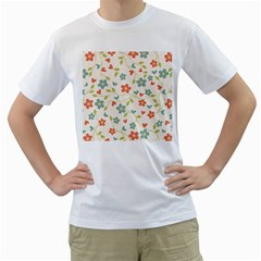 Abstract Vintage Flower Floral Pattern Men s T-Shirt (White) (Two Sided)