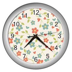Abstract Vintage Flower Floral Pattern Wall Clocks (silver)