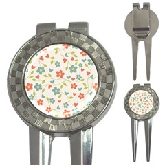Abstract Vintage Flower Floral Pattern 3 In 1 Golf Divots