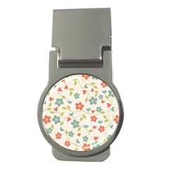 Abstract Vintage Flower Floral Pattern Money Clips (round)