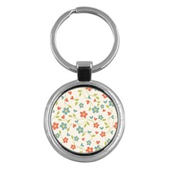 Abstract Vintage Flower Floral Pattern Key Chains (round)