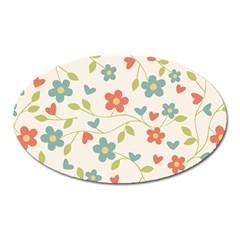 Abstract Vintage Flower Floral Pattern Oval Magnet