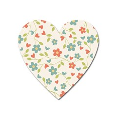 Abstract Vintage Flower Floral Pattern Heart Magnet