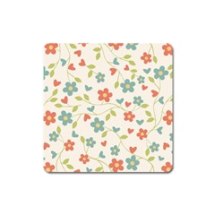 Abstract Vintage Flower Floral Pattern Square Magnet