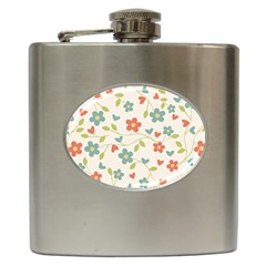 Abstract Vintage Flower Floral Pattern Hip Flask (6 oz)