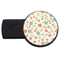 Abstract Vintage Flower Floral Pattern USB Flash Drive Round (2 GB)