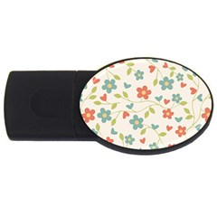 Abstract Vintage Flower Floral Pattern Usb Flash Drive Oval (2 Gb)