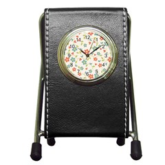 Abstract Vintage Flower Floral Pattern Pen Holder Desk Clocks