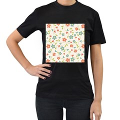 Abstract Vintage Flower Floral Pattern Women s T Shirt (black) (two Sided)