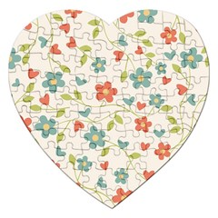 Abstract Vintage Flower Floral Pattern Jigsaw Puzzle (Heart)