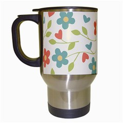 Abstract Vintage Flower Floral Pattern Travel Mugs (white)