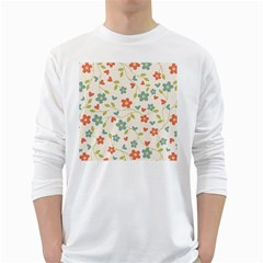 Abstract Vintage Flower Floral Pattern White Long Sleeve T Shirts