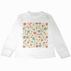Abstract Vintage Flower Floral Pattern Kids Long Sleeve T Shirts