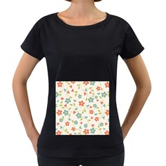 Abstract Vintage Flower Floral Pattern Women s Loose Fit T Shirt (black)