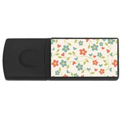 Abstract Vintage Flower Floral Pattern Usb Flash Drive Rectangular (4 Gb)