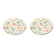 Abstract Vintage Flower Floral Pattern Cufflinks (oval)
