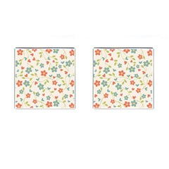 Abstract Vintage Flower Floral Pattern Cufflinks (square)