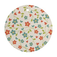 Abstract Vintage Flower Floral Pattern Round Ornament (two Sides)
