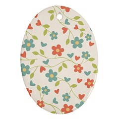 Abstract Vintage Flower Floral Pattern Oval Ornament (two Sides)