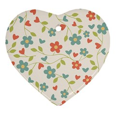 Abstract Vintage Flower Floral Pattern Heart Ornament (two Sides)