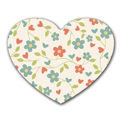Abstract Vintage Flower Floral Pattern Heart Mousepads