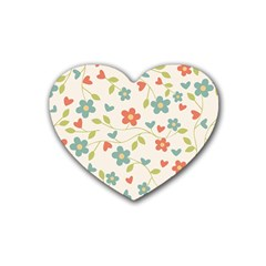 Abstract Vintage Flower Floral Pattern Rubber Coaster (heart)
