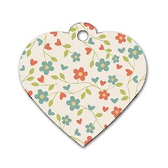Abstract Vintage Flower Floral Pattern Dog Tag Heart (one Side)