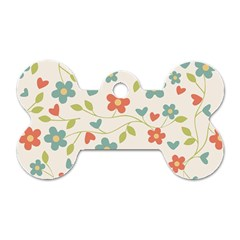 Abstract Vintage Flower Floral Pattern Dog Tag Bone (one Side)