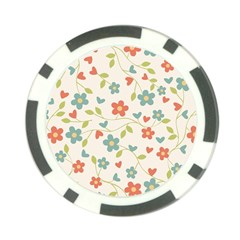 Abstract Vintage Flower Floral Pattern Poker Chip Card Guard (10 Pack)