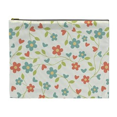 Abstract Vintage Flower Floral Pattern Cosmetic Bag (xl)