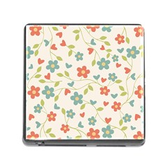 Abstract Vintage Flower Floral Pattern Memory Card Reader (Square)