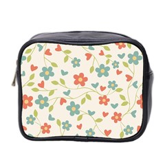 Abstract Vintage Flower Floral Pattern Mini Toiletries Bag 2 Side