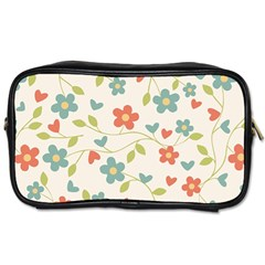 Abstract Vintage Flower Floral Pattern Toiletries Bags 2 Side