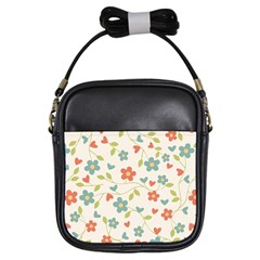 Abstract Vintage Flower Floral Pattern Girls Sling Bags