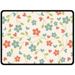 Abstract Vintage Flower Floral Pattern Fleece Blanket (large)