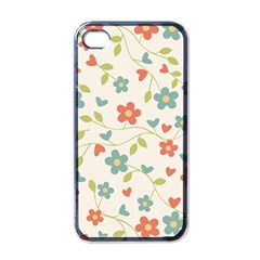 Abstract Vintage Flower Floral Pattern Apple Iphone 4 Case (black)