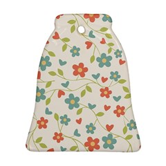 Abstract Vintage Flower Floral Pattern Bell Ornament (two Sides)