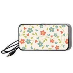 Abstract Vintage Flower Floral Pattern Portable Speaker (Black)